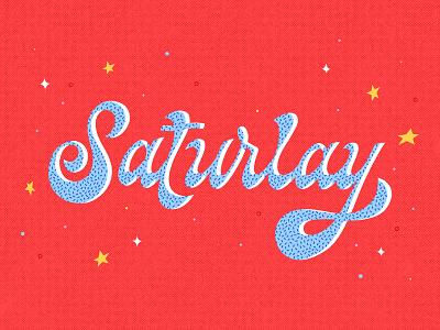 Saturlay 70s groovy hand lettering texture patterns weekend naps sleep saturday