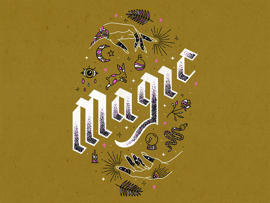 Magic crystal ball stars moon palm leaves potion rabbit blackletter magical magic illustration lettering hand lettering
