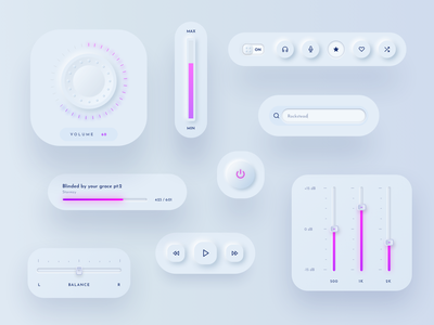 Neumorphic UI elements player equalizer music player music sketch ui new new skeumorphism soft ui neumorphic neumorphism