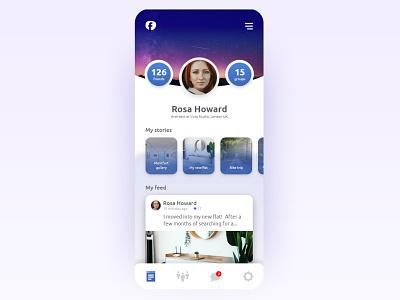 Facebook screen redesign social media adobe xd facebook uidesign xd interface mobile ui