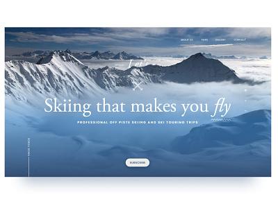 Skiing ski landing page website winter sports winter snow skiing ui web design adobe xd