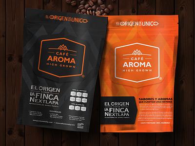 Café Aroma High Grown happystudio packaging graphic design logotype coffee brand design branding