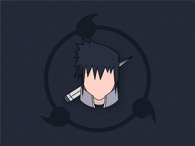 Sasuke Uchiha - Minimalist illustration shape flat texture characterdesign modern project sasuke face character vector minimalistic anime graphicdesign illustration