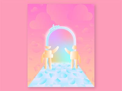 Unknown Universe - 2D Illustration nftdesign poster nft future bridge portal pastel colors characters universe unknown creative illustration 2d vector graphicdesign