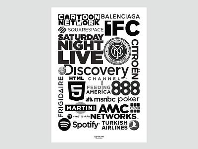 Usage of Gotham poster design layout logos typography branding design