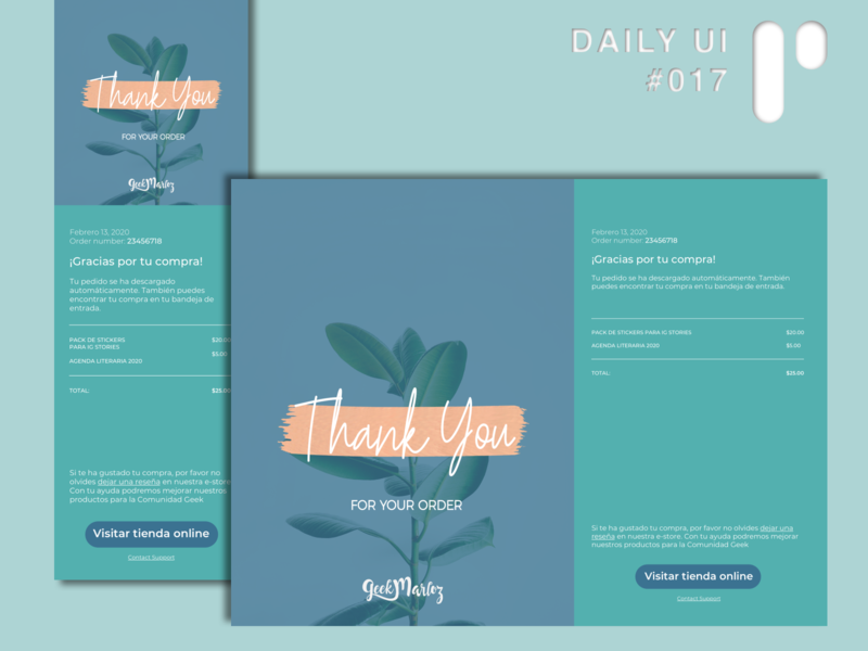 Daily UI Challenge #017 - Email Receipt editorial design app design app dailyuichallenge vector ui dailyui digital design ui design