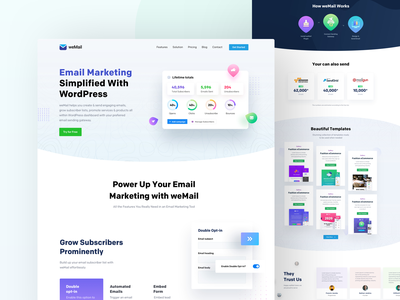 weMail Home Page Design awesome latest nice cool marketing sent email page home illustraion interface design ux ui website