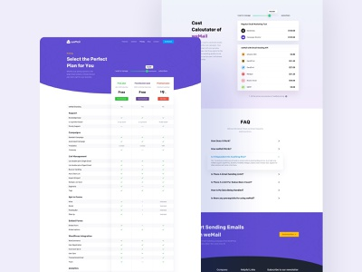 Pricing Page Design of weMail pricing marketing email sent interface design website ux ui