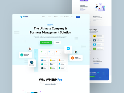 ERP PRO Design homepage website accounting crm hrm erp wp pricing user frontend hr heading illustration latest cool design ux ui