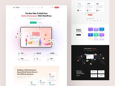 Home Page Design of Dokan marketplace shopping vendor page site web branding cool illustration ecommerce multivendor 3d latest design ux ui