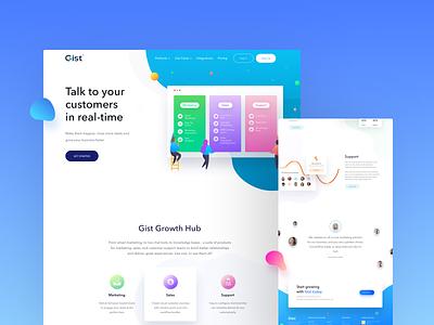 Gist Website Design marketing chat live customer support color illustration page landing latest design site web ux ui