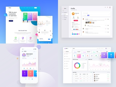 2018 modern clean page landing ux ui profile app dashboard design webiste