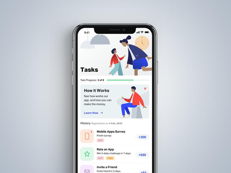 Task App clear illustration ux ui interface task management money ios app design design app task