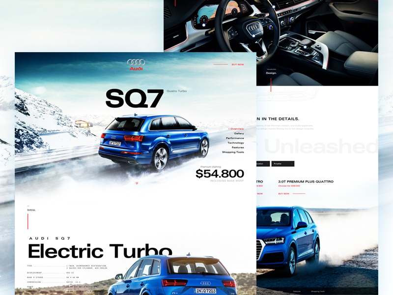 Audi SQ7 uiweekly concept interface layout design template cars webdesign audi