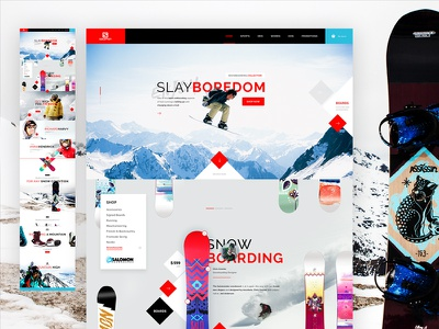 Salomon Snowboarding uiweekly template layout concept webdesign design ux ui extreme sport snowboarding salomon