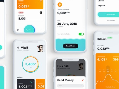 Wallet App stock market dashboard profile money colors modern ux ui app wallet