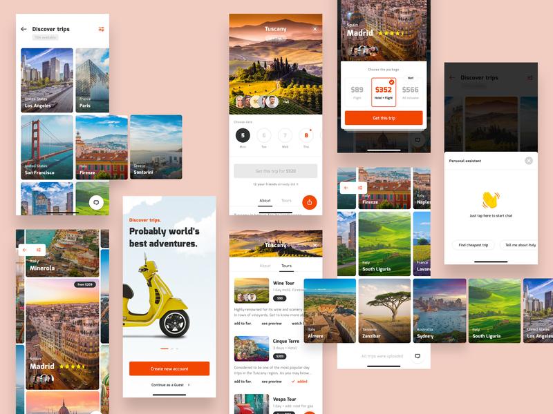 Travel App travel interface mobile app ios design ux ui