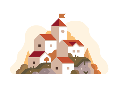 The village on the uphill adobe red illustration