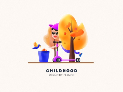 Childhood vector flat typography ui illustration