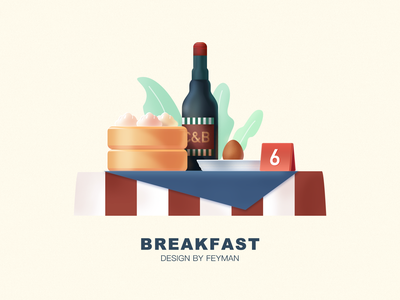 Breakfast in China chinese food food typography flat illustration