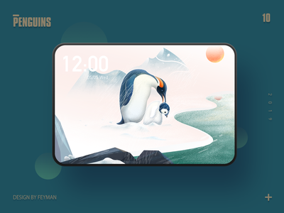 penguins animal mountain creative adobe father love winter snow nature typography blue web illustration