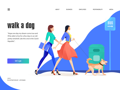 walk a dog blue flat design animal adobe ui web illustration