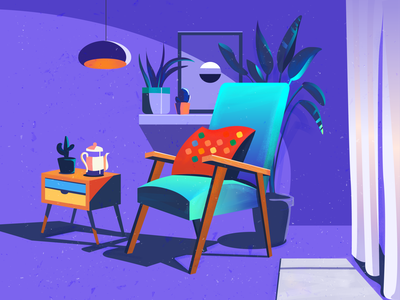 Corner chair blue flat adobe illustration