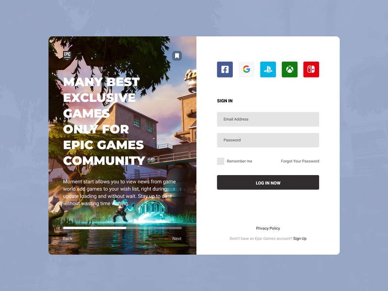 Concept Epic Games | Sign In #1 player user experience user interface concept design scrolling tape news login store fortnite web sign in games epic concept design application app ux ui