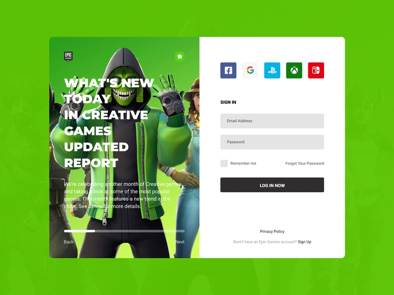 Concept Epic Games | Sign In #2 userinterface user experience ux ui tape store sign in scrolling player news login games fortnite epic games epic design steam concept application app