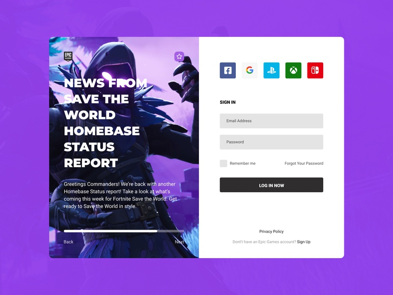 Concept Epic Games | Sign In #3 dark user interface user experience ux ui figma store sign in scrolling player news login games fortnite epic games epic design concept application app