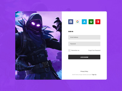 Concept Epic Games | Sign In #4 uiux sign up log in motion ux user interface user experience ui sign in player news login games gif fortnite epic games dark concept application app