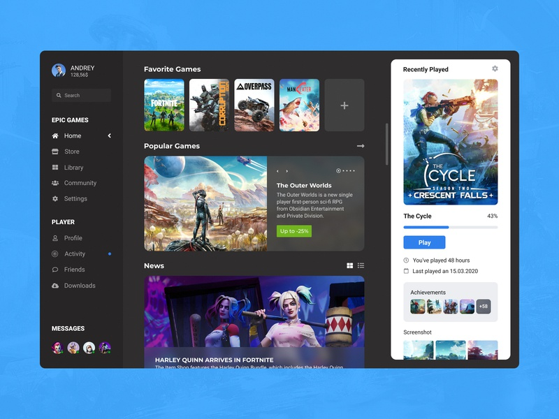 Concept Epic Games | Home #6 desktop launcher steam messages library activity start home ux user interface user experience uiux ui player news games epic games concept application app