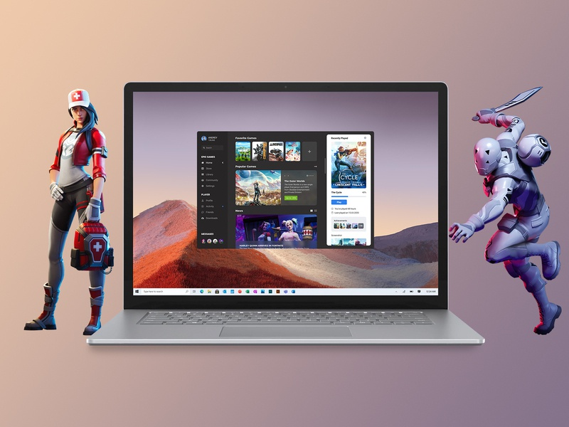 Concept Epic Games | Promo #7 user design advertising notebook windows characters heroes fortnite ux start player launcher home games epic games promo desktop concept application app