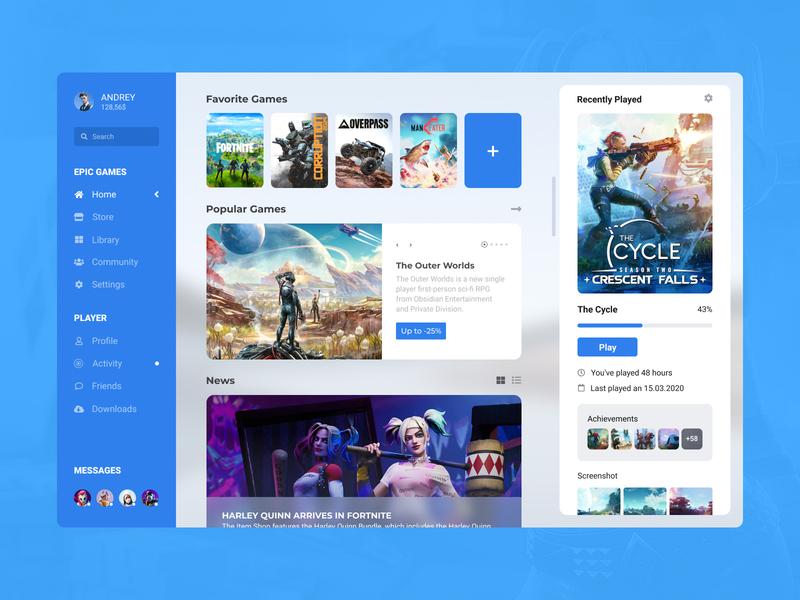 Concept Epic Games | Home #8 design fluent minimalism white windows themes ux ui start player news launcher home games epic games desktop concept application app activity