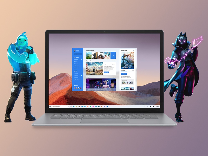 Concept Epic Games | Promo #9 windows 10 ux user start promo player notebook launcher home heroes games fortnite epic games desktop design concept characters application app advertising