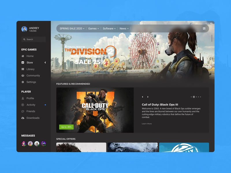 Concept Epic Games | Store #10 cover featured holiday page recommended sale ux ui player library launcher store games epic games desktop concept application app ecommerce
