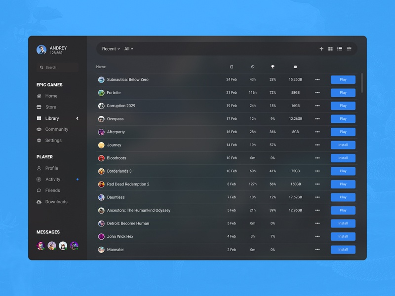 Concept Epic Games | Library #15 date time ux ui store player management list library launcher games epic games desktop control concept play application app achievements