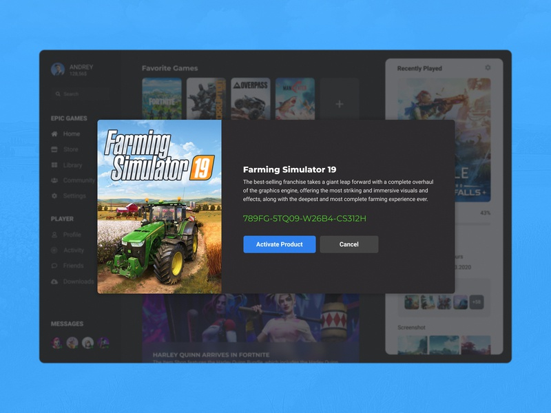Concept Epic Games | Activation Games #16 apple activate banner simulator farming key choice product ux ui store player library launcher games epic games desktop concept application app