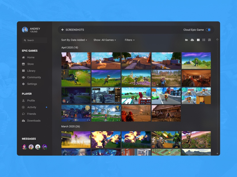 Concept Epic Games | Screenshots #18 set cloud sorting archive memory photo collection fortnite screenshots ux user interface user experience ui player library games epic games desktop concept app