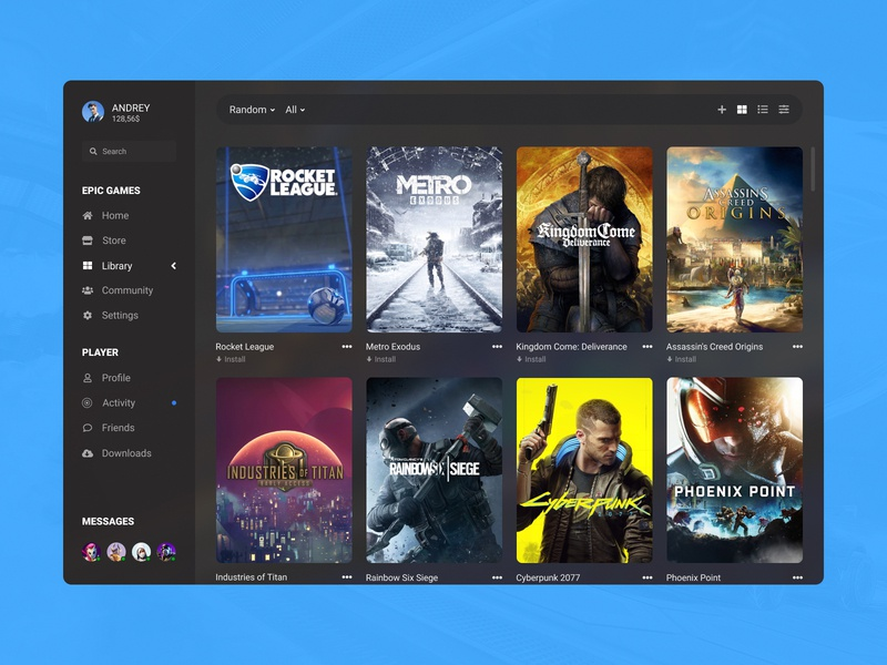 Concept Epic Games | Library #22 preview collection list box cover poster grid ux ui store player management library launcher games epic games desktop concept application app