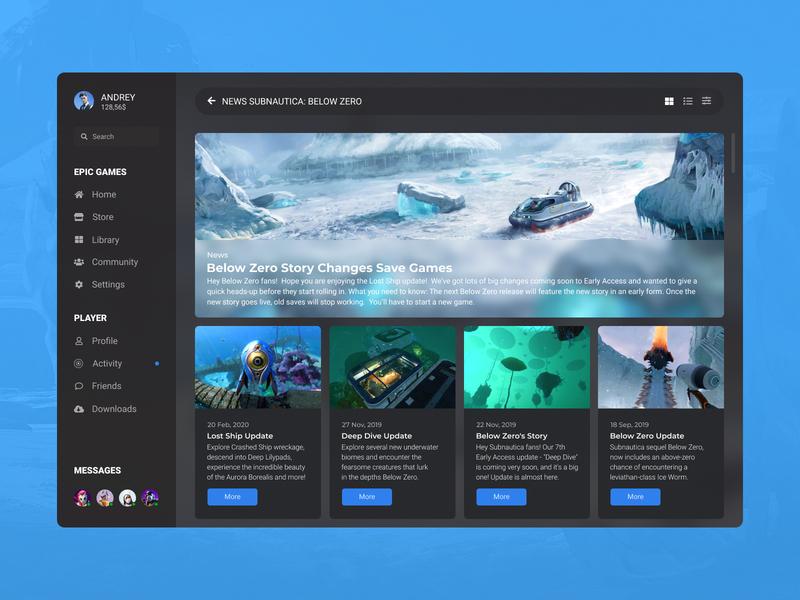 Concept Epic Games | Latest News #24 blog uiux ux ui player launcher desktop feed subnautica app winter cold game games epic games concept latest news news latest last
