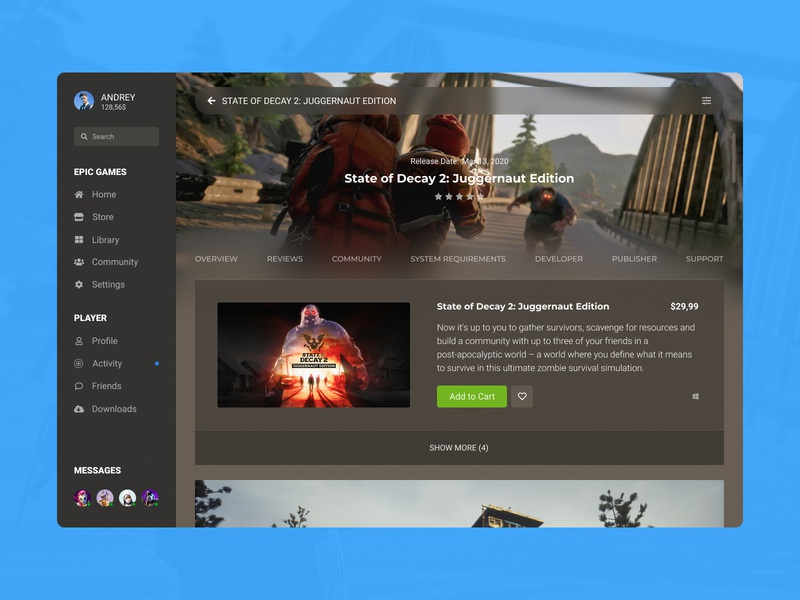 Concept Epic Games | Store Page #25 design desktop app purchases screen game page cover state of decay shop store ux ui player launcher games feed epic games desktop concept app