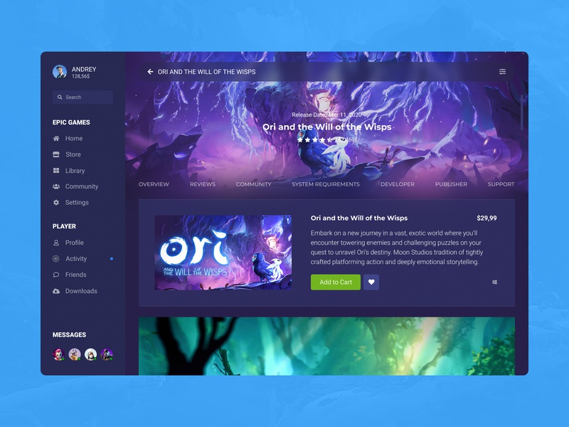 Concept Epic Games | Store Page #26 user experience user interface ux ui store shop screen purchases player page launcher games feed epic games desktop app desktop design cover concept app