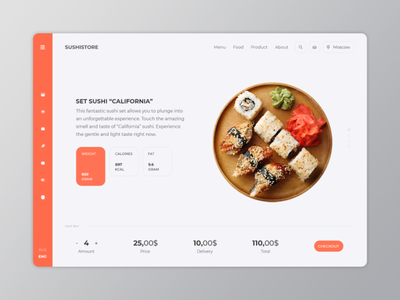 Sushi Store kitchen purchase restaurant food roll california moscow store sushi app web minimalism ux ui
