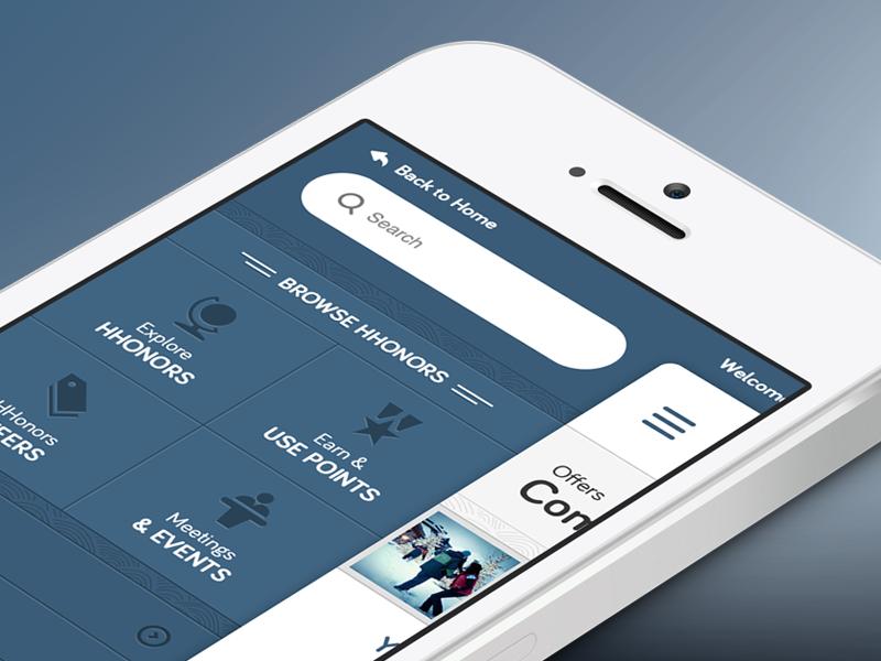 Hilton Render ux ui mobile responsive navigation menu hilton ios iphone