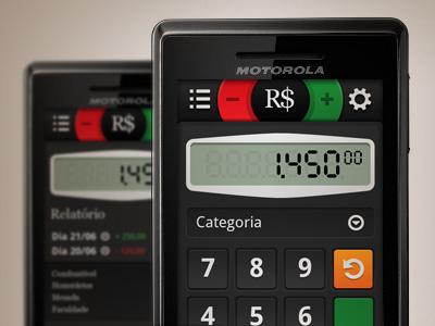 """Minha Grana"" App android calculator mobile ui"