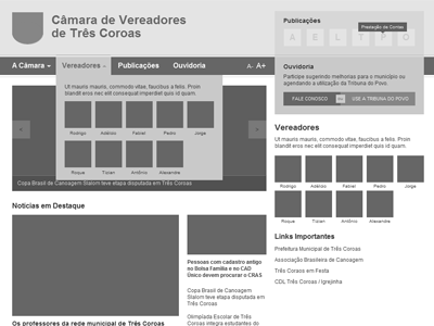 Wireframe Camara Vereadores ui wireframe sketch portal home