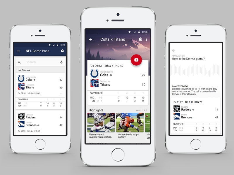 NFL Game Pass - Concept app chromecast american football nfl mobile material design