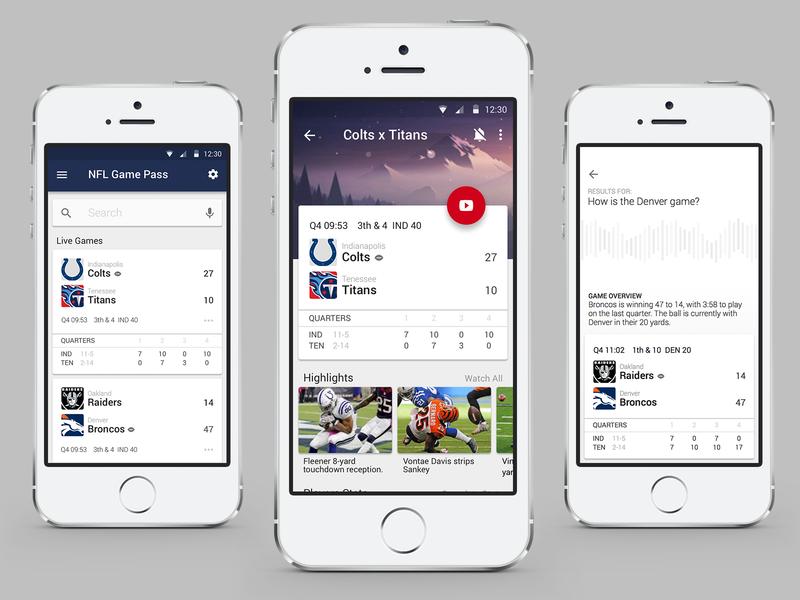 NFL Game Pass - Concept app chromecast american football nfl mobile material design