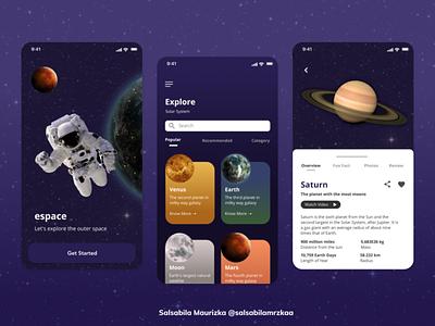 Space App planet solar system space ui ux mobile design app